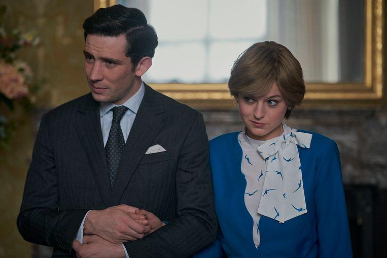Charles (Josh O'Connor) en Diana (Emma Corrin) in seizoen 4 van The Crown. Beeld