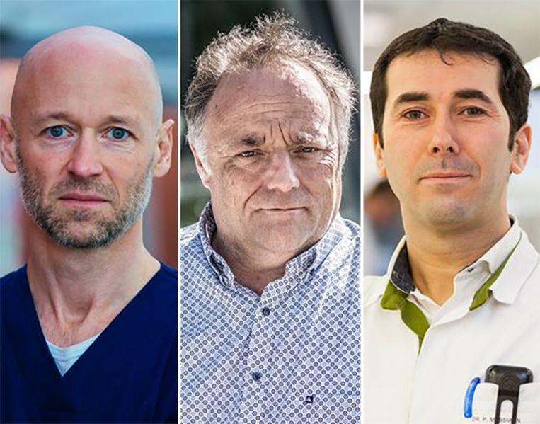 Geert Meyfroidt - Marc Van Ranst - Peter Messiaen Beeld UZ Leuven - Bart Leye - Jessa Ziekenhuis