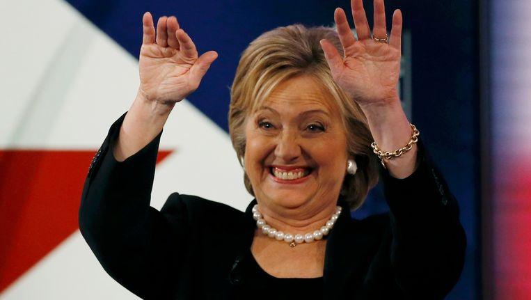Hillary Clinton tijdens het debat vannacht. Beeld REUTERS