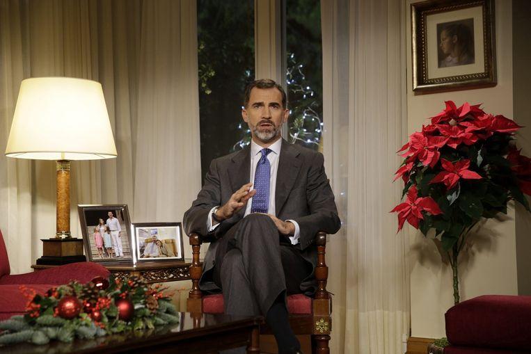 De Spaanse koning Felipe houdt zijn eerste kersttoespraak. Beeld epa