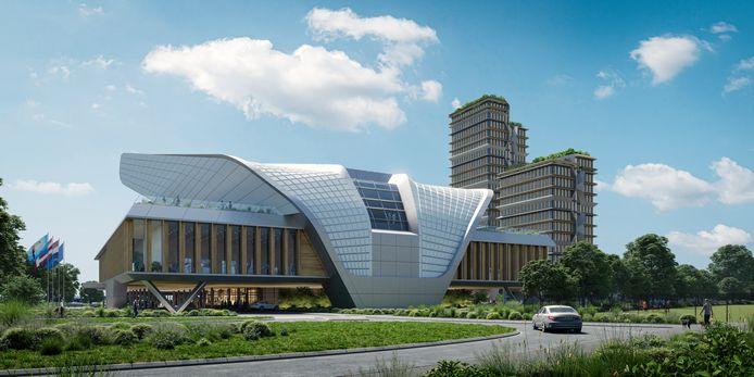 Een grafische impressie van de achterzijde van het nieuwe Elysion congrescentrum aangebouwd aan hotel Van der Valk langs de randweg aan de A67 in Eindhoven.