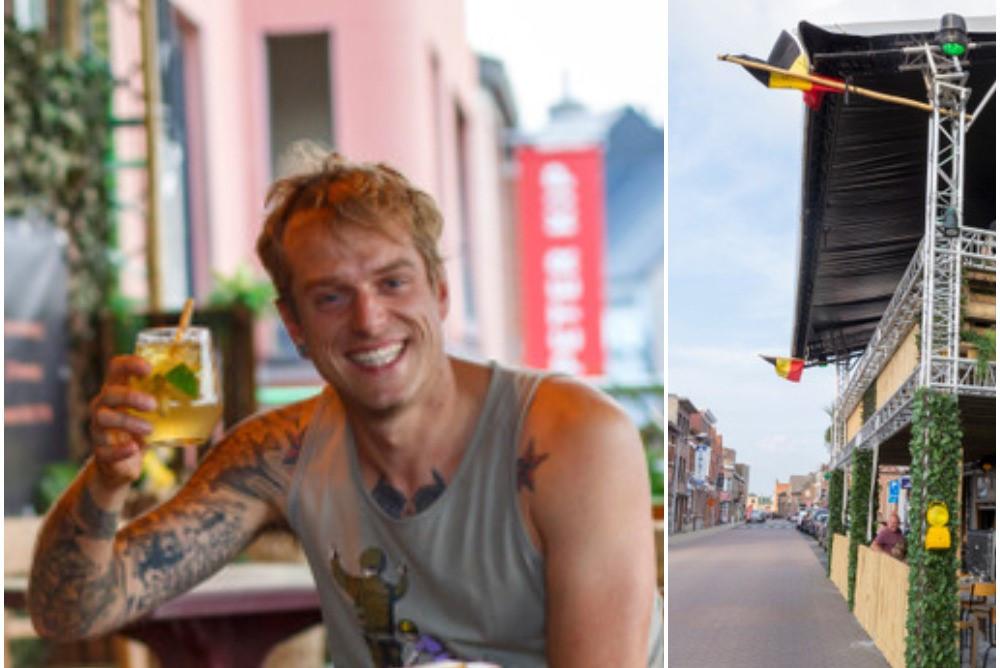 Cafébaas Yannik Cambré is tevreden met zijn 'dubbeldekterras' aan café Titanic in Herenthout