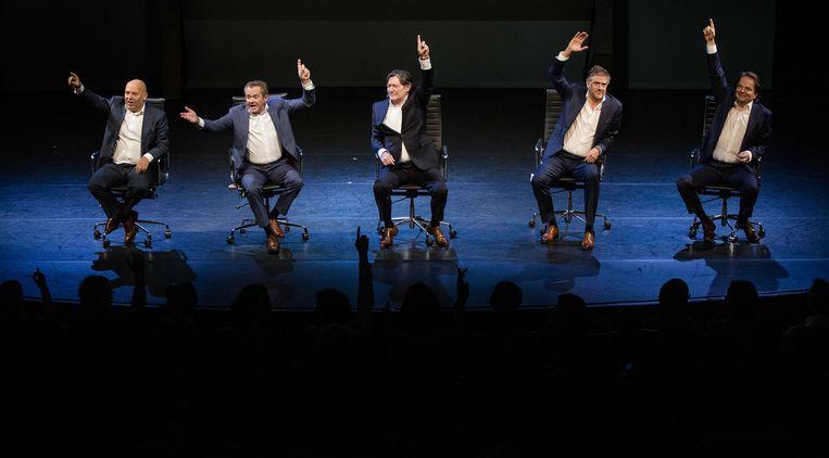 Theatergroep De Verleiders steunde de petitie van Ons Geld voor onderzoek naar het geldstelsel. Beeld ANP
