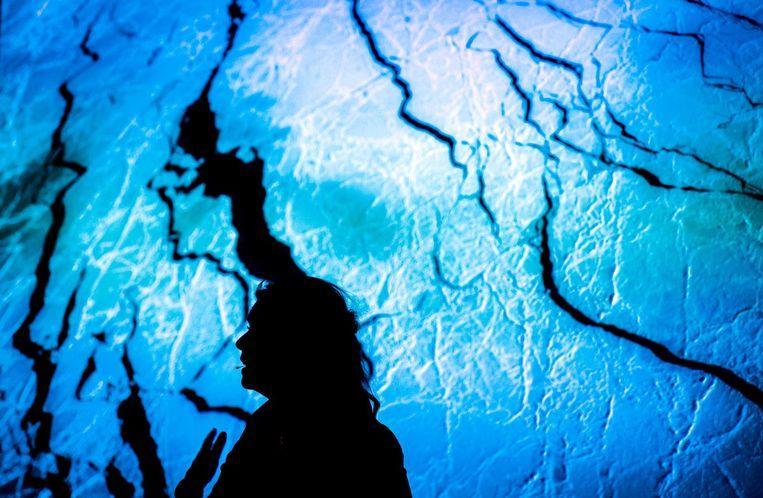 Expeditieleider Bernice Notenboom tijdens de presentatie de Noordpool Expeditie, februari. Beeld anp