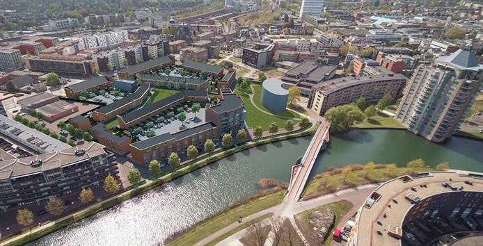 In de brochure voor de ontwikkeling van het Havenpark in Apeldoorn staat links 'boven' fietsbrug de Freule een cashew-vormig gebouw ingetekend. Realisatie van die woontoren is vertraagd.
