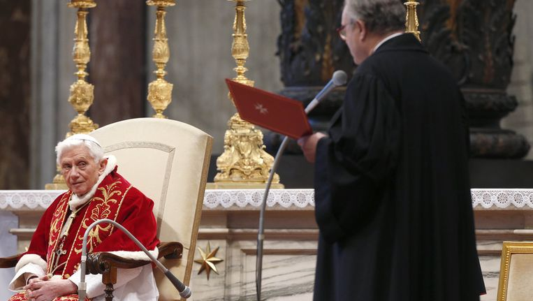 Paus Benedictus XVI, eergisteren. Beeld getty