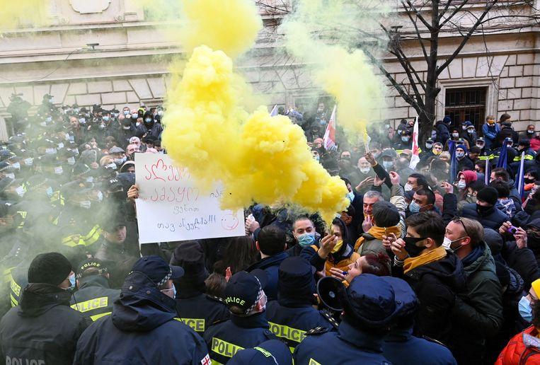 Een anti-overheidsprotest in Georgië. Beeld AFP