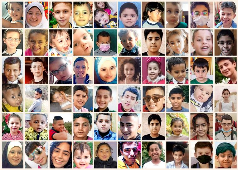 Zestig van de kinderen die om het leven kwamen door de bommenregen in de oorlog tussen Israël en Hamas. Verreweg de meeste slachtoffers vielen in Gaza.  Beeld The New York Times