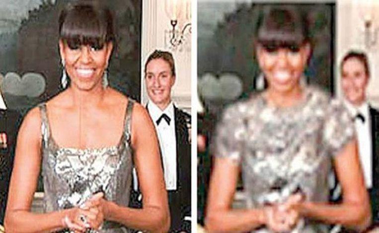 De jurk zoals Michelle Obama die droeg bij de Oscaruitreikingen (links) en zoals hij werd 'bijgewerkt' voor gebruik in Iraanse media. Beeld null