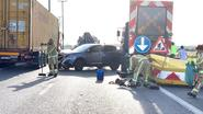 Bestuurder knalt tegen signalisatiewagen op Expresweg