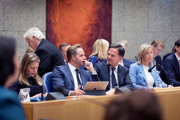 Mark Rutte en zijn drie vice-premiers - Schouten, De Jonge en Ollongren - op de eerste rij in Vak K bij het begin van de Algemene Beschouwingen.  Beeld Werry Crone