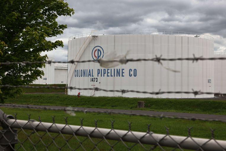 Brandstoftanks van Colonial Pipeline in Woodbridge, New Jersey. Beeld AFP
