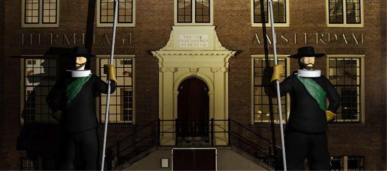'The Gatekeepers' voor museum de Hermitage. Beeld Amsterdam Light Festival