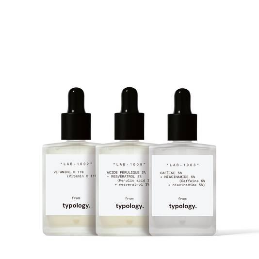 Trio de sérums Peau fatiguée. Prix: 27,50 euros. Disponible sur www.typology.com.