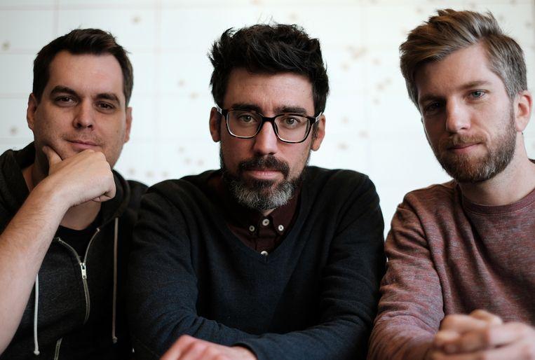 Onderzoekers Philippe Haldermans, Jonas Kiesekoms en Maarten Elen PXL-Music Research duiken in de data van de Belgische muziekindustrie. Beeld PXL-Music Research
