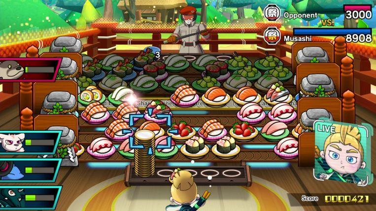 Een soort combinatie van 'Candy Crush Saga' en sjoelbakken: dat is, in zijn diepste essentie, 'Sushi Striker'. Beeld Nintendo