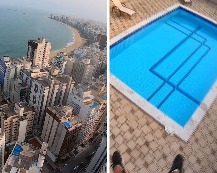 Un parapente se pose entre deux piscines sur le toit d'un immeube de 22 étages.