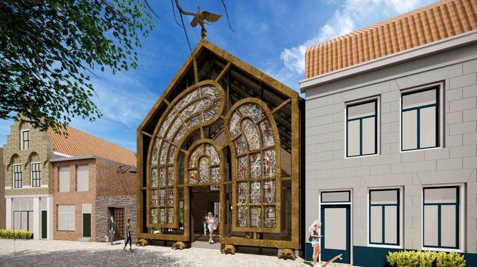 Het nieuwe ontwerp van het kunstwerk van Studio Job voor de Dordtse Kunstkerk heeft een Dali-achtige vorm.