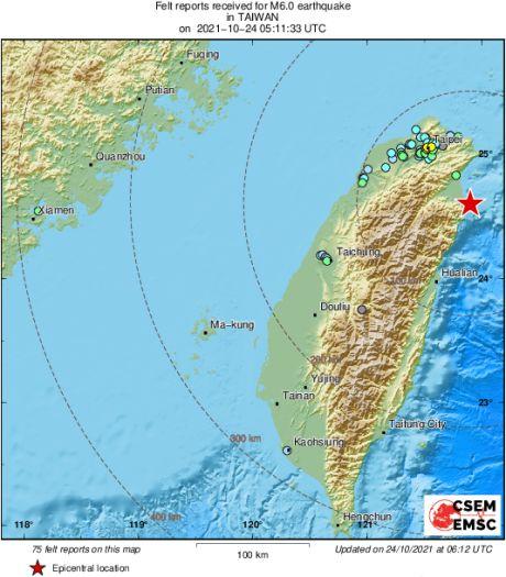 Un séisme de magnitude 6,5 fait un blessé à Taïwan