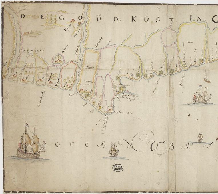 Kaart van de Goudkust in Guinea, 17de eeuw. Beeld Nationaal Archief