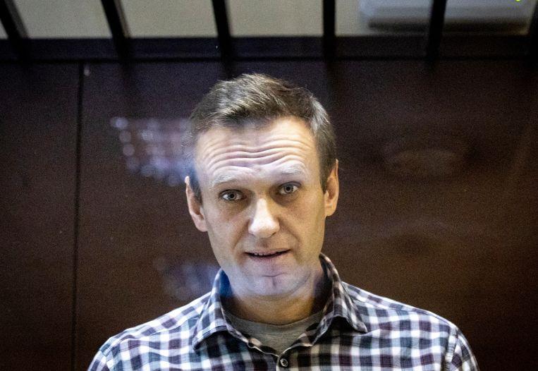Navalny tijdens zijn proces. Beeld AP