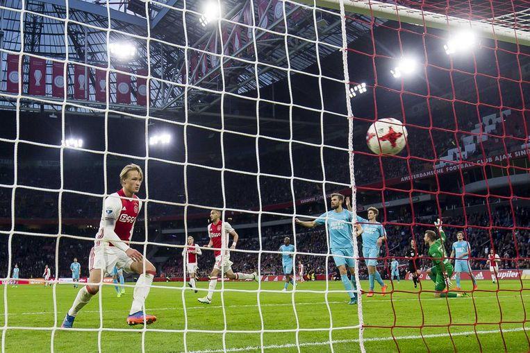 Kasper Dolberg scoorde ook de 3-0 Beeld ANP Pro Shots