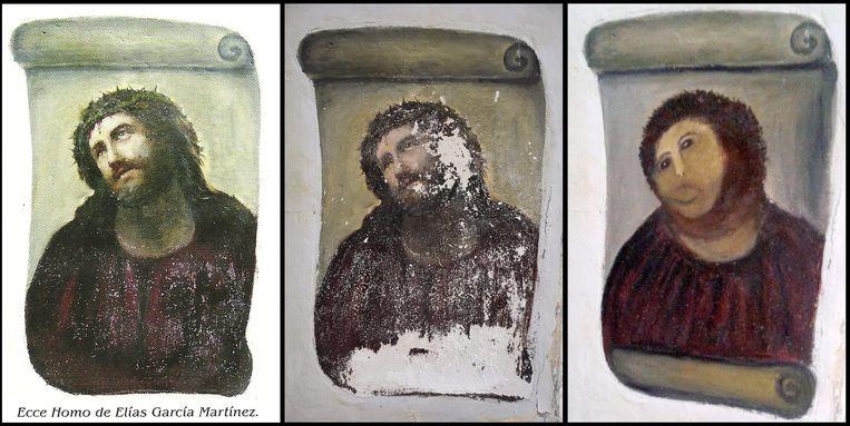 De mislukte restauratiepoging van het fresco 'Ecce Homo' van een aantal jaren geleden. Beeld EPA