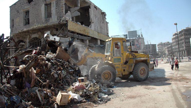Het in puin geschoten centrum van Homs in Syrië. Beeld EPA