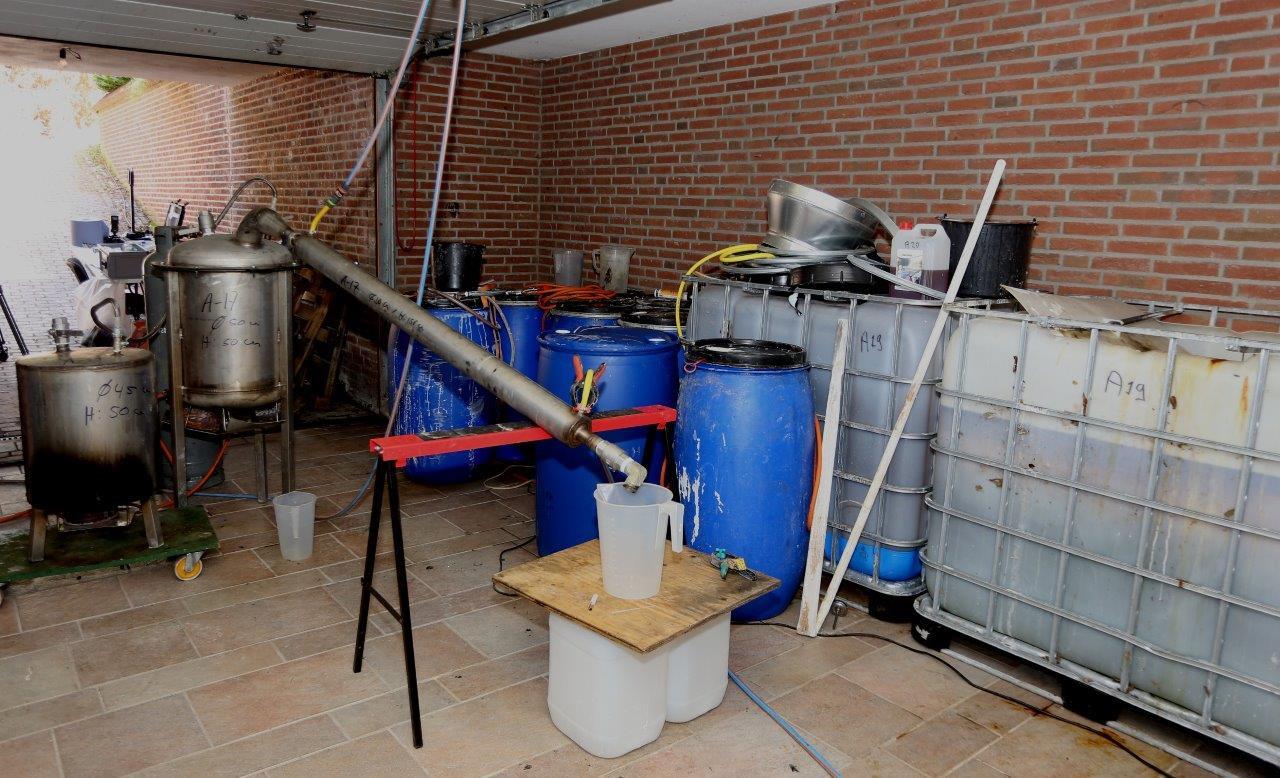 Het drugslab in de woning Broxven 4a in Esch.