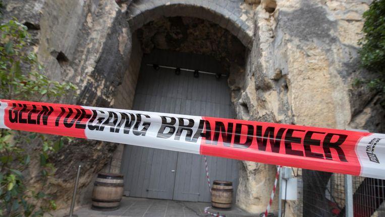 Delen van het Chateau Neercanne zijn afgesloten door de schade die het kasteel heeft opgelopen vanwege de brand in de mergelgrotten. Beeld ANP