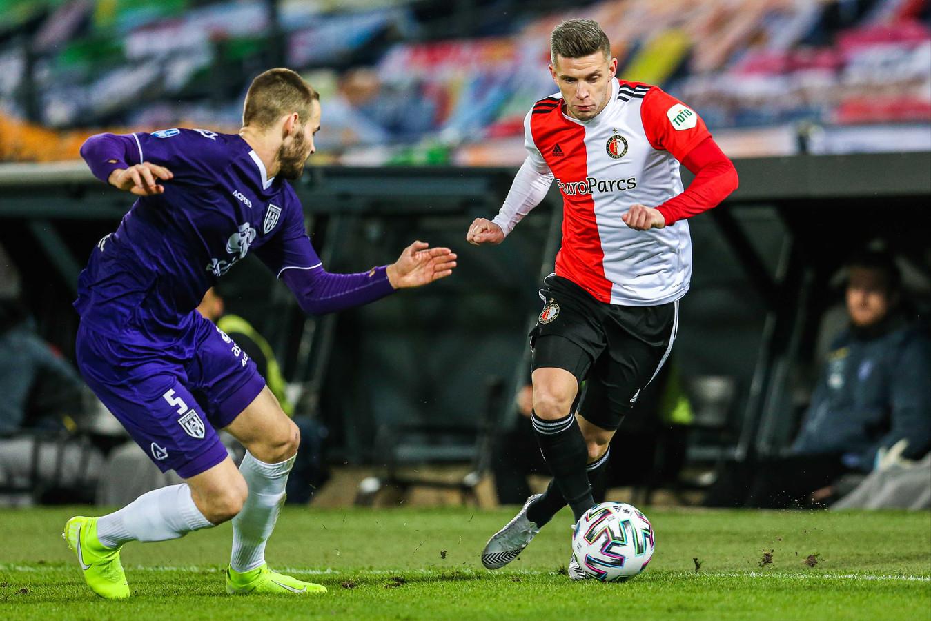Bryan Linssen maakte vanavond als invaller de 2-1 tegen Heracles.
