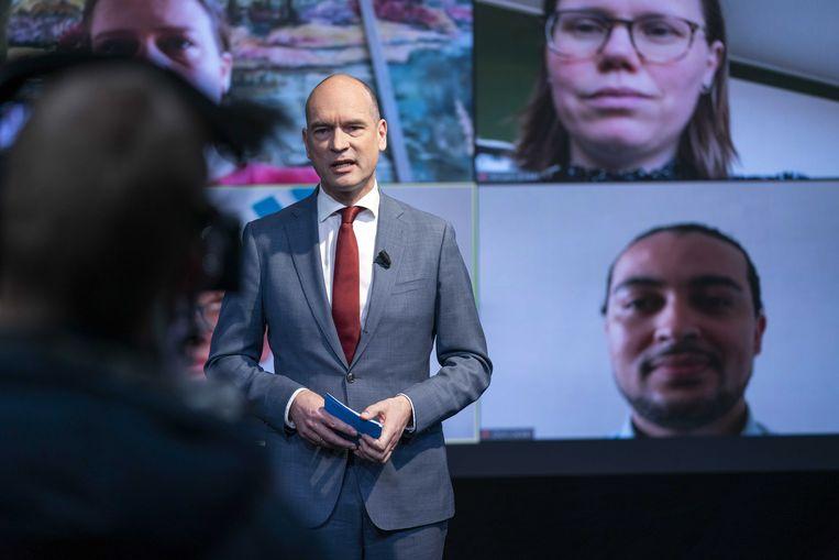 Lijsttrekker Gert-Jan Segers op het online congres van de ChristenUnie. Beeld EPA / Jeroen Jumelet
