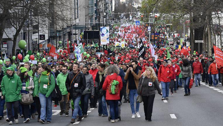 Op 21 maart betoogden 14.000 werknemers uit de non-profitsector in Brussel. Beeld BELGA