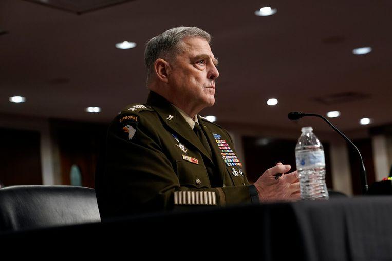 Generaal Mark Milley wordt ondervraagd in de Senaat.  Beeld EPA
