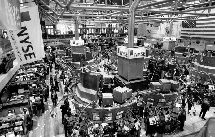 De handelsvloer van de beurs in New York.