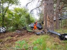 Auto belandt tussen de bomen bij A28 tussen Wezep en Epe, verkeer op vluchtstrook en een half uur vertraging