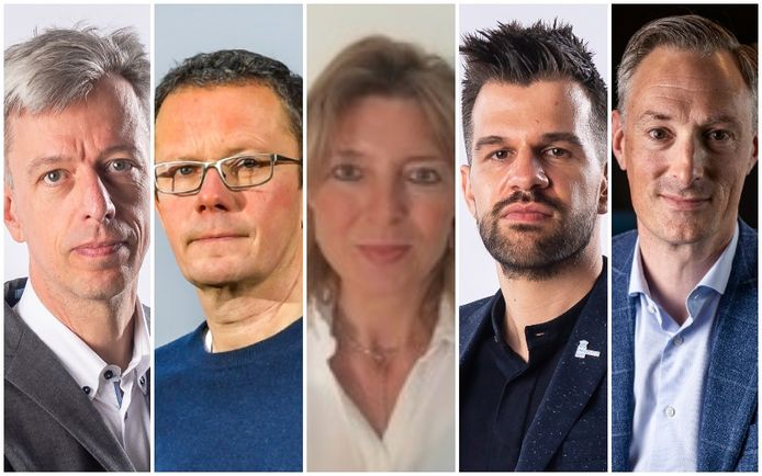 V.l.n.r.: Geert Noels (Econopolis), Ive Marx (Universiteit Antwerpen), Marjan Maes (KU Leuven),  Stijn Baert (UGent) en Peter De Keyzer (Growth Inc.)