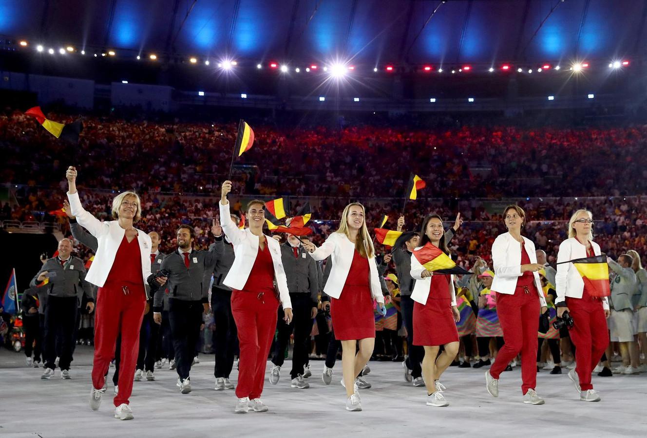 De Belgische delegatie op de openingsceremonie van de Spelen in Rio.