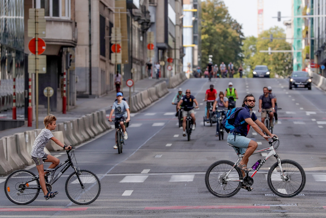 Des cyclistes lors de la journée sans voiture à Bruxelles, édition 2019.