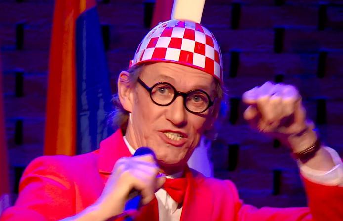 Huub Hangop zingt het carnavalslied.