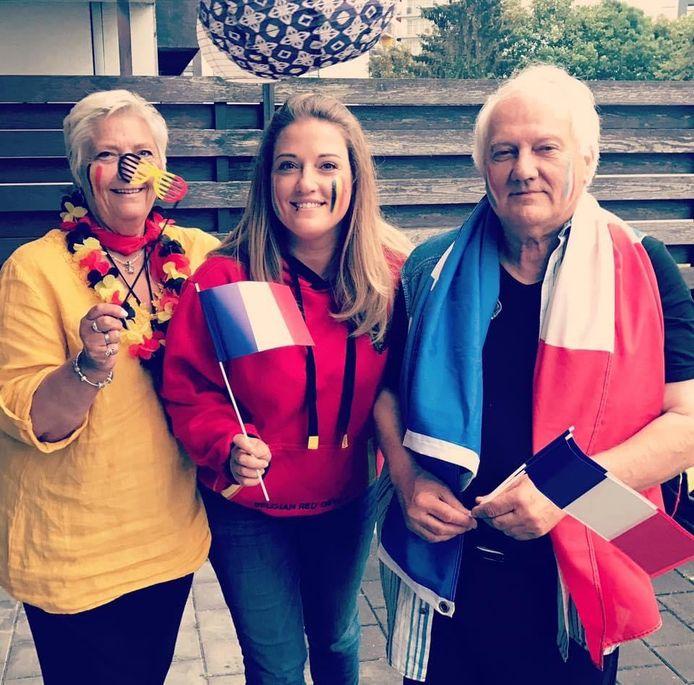 L'animatrice carolo de NRJ, Marie-Audrey Piolé, entourée de ses parents avant le match Belgique-France