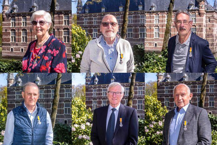 Gedecoreerden in de gemeente Wijchen in 2021. Met de klok mee Loes van Gils-van Hal, Albert Barsch, Fred Bosman, Jo Klaassen, Theo van der Weegen en Emiel Janssen.