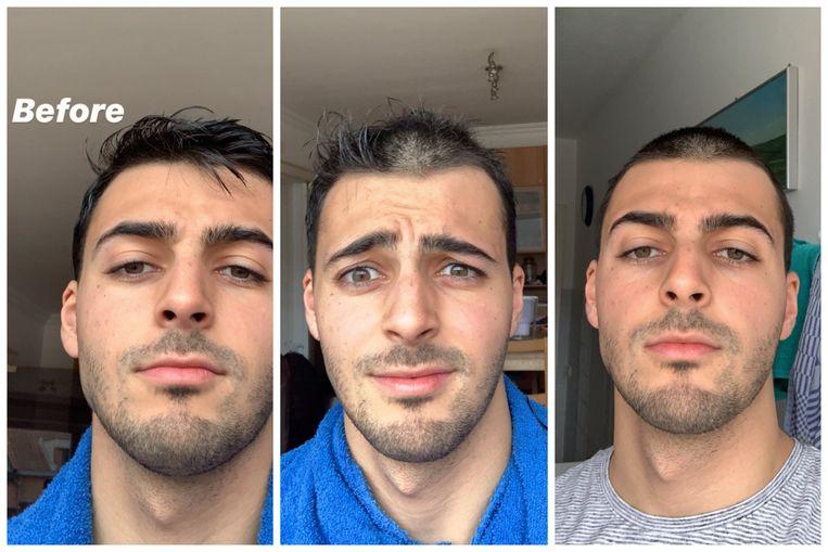 Uit kappersgebrek heeft de Leuvense student Silvio Spiniello er zelf de tondeuse in gezet. Beeld RV
