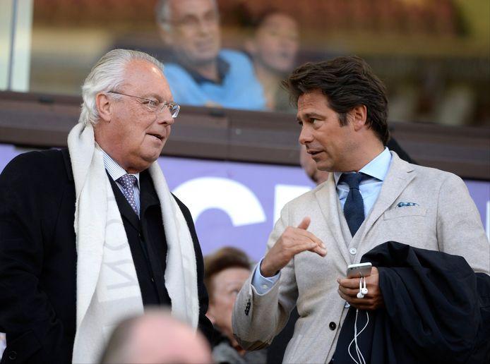De vorige clubeigenaar van Anderlecht Roger Vanden Stock en spelersmakelaar Christophe Henrotay op archiefbeeld. © Photo News.
