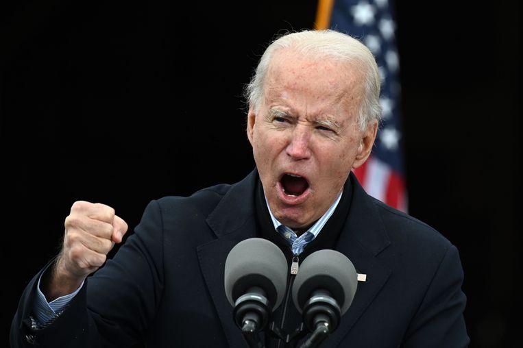 Joe Biden tijdens een campagnebijeenkomst in Atlanta, de hoofdstad van Georgia. Beeld AFP