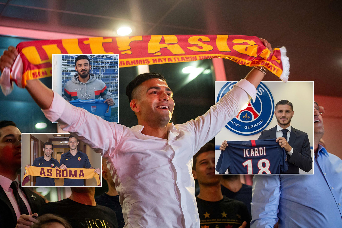 Radamel Falcao (Galatasaray) in Istanbul. Inzetjes: Mauro Icardi (PSG), Reza Ghoochannejhad (PEC) en Henrikh Mkhitaryan en Nikola Kalinic (AS Roma).