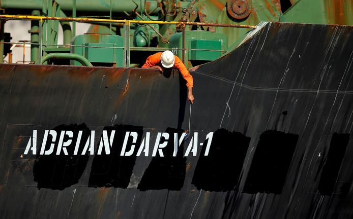 De Iraanse olietanker Adrian Darya 1, vroeger Grace 1 genaamd.