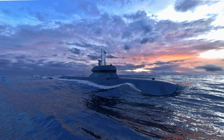Artist impression van de onderzeeër die Damen samen met Saab-Kockums wil bouwen. Beeld Saab