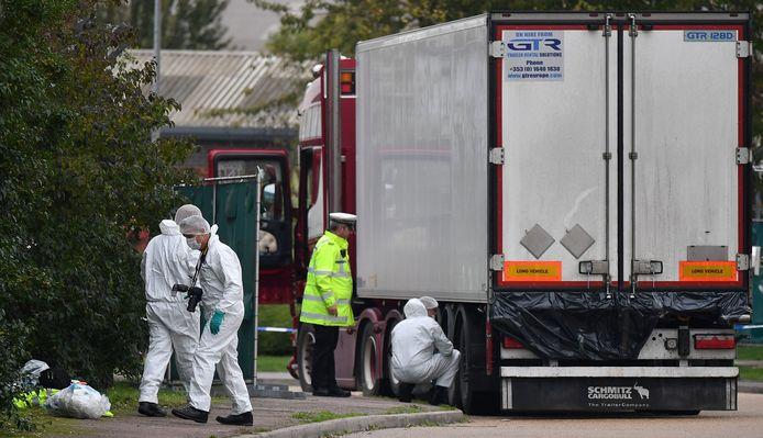 De truck waarin de lichamen gevonden werden.