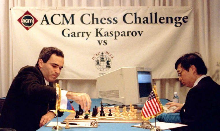 Garry Gasparov in actie tegen IBM Deep Blue Beeld anp